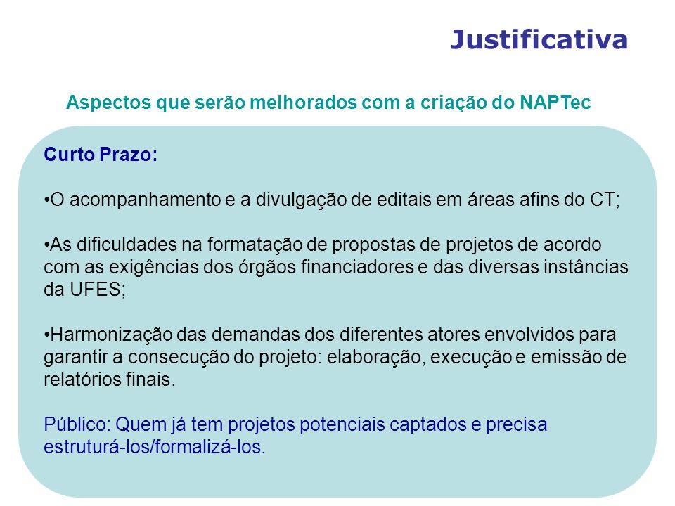 Justificativa Aspectos que serão melhorados com a criação do NAPTec