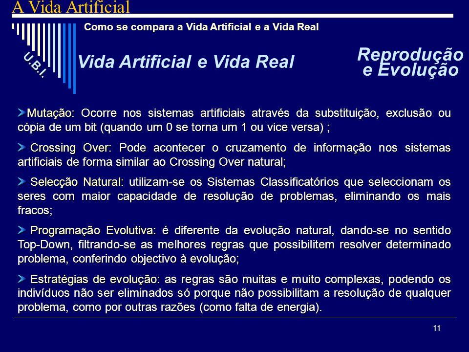 Vida Artificial e Vida Real Reprodução e Evolução