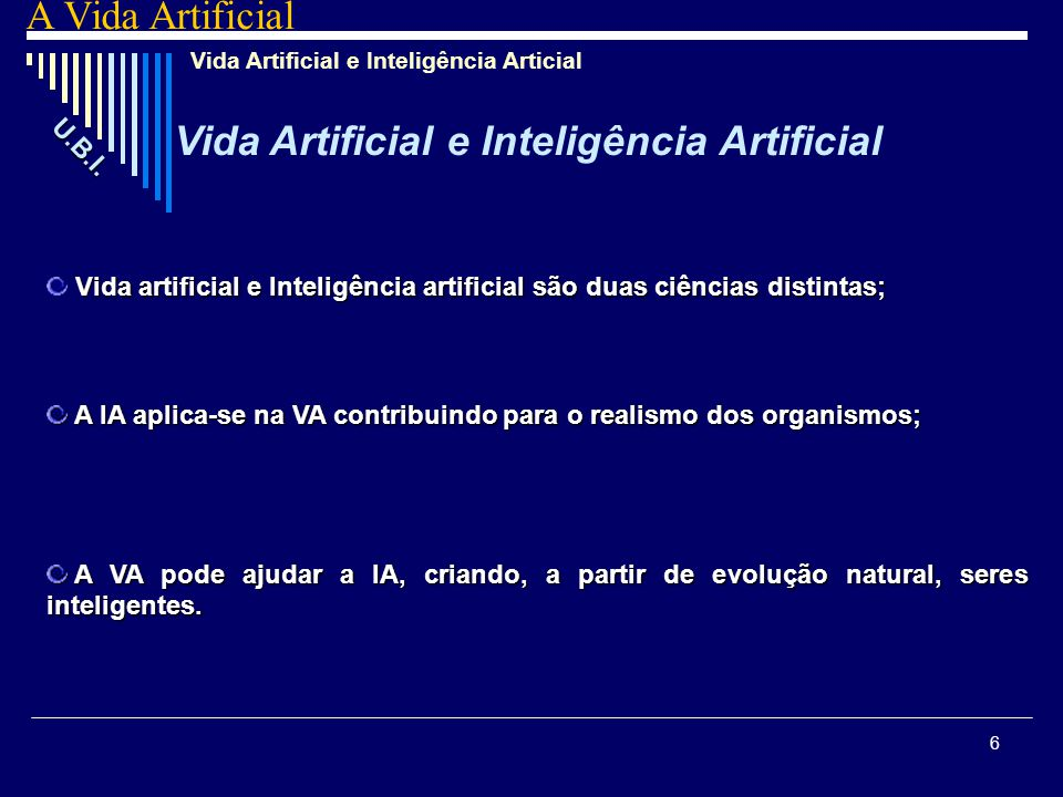 Vida Artificial e Inteligência Artificial