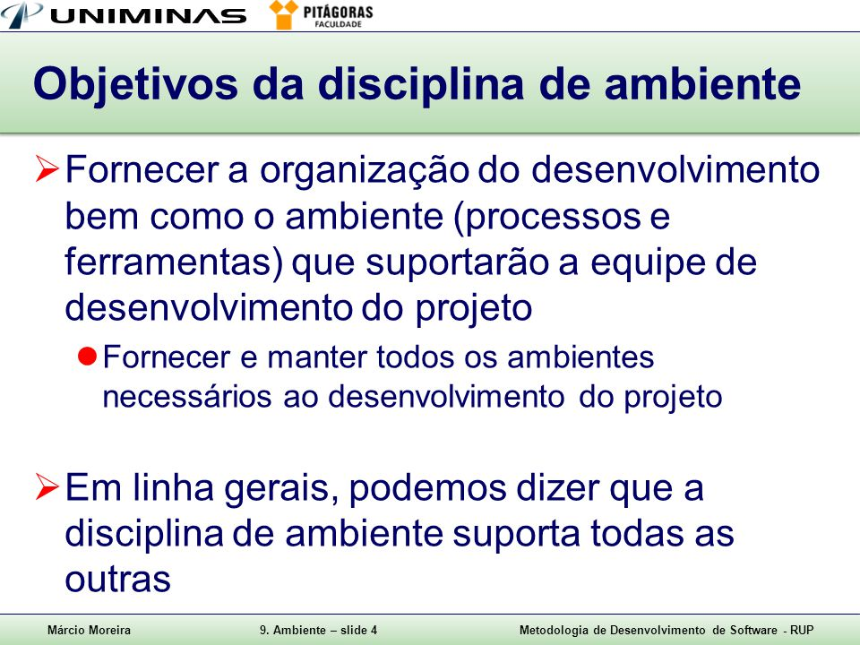 Objetivos da disciplina de ambiente