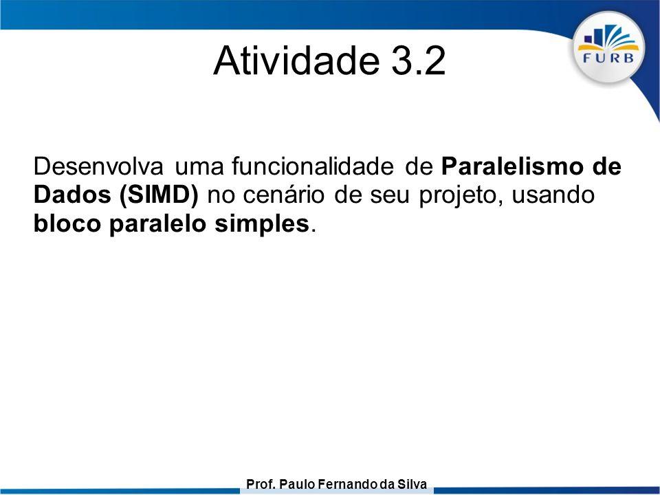 Atividade 3.2 Desenvolva uma funcionalidade de Paralelismo de Dados (SIMD) no cenário de seu projeto, usando bloco paralelo simples.