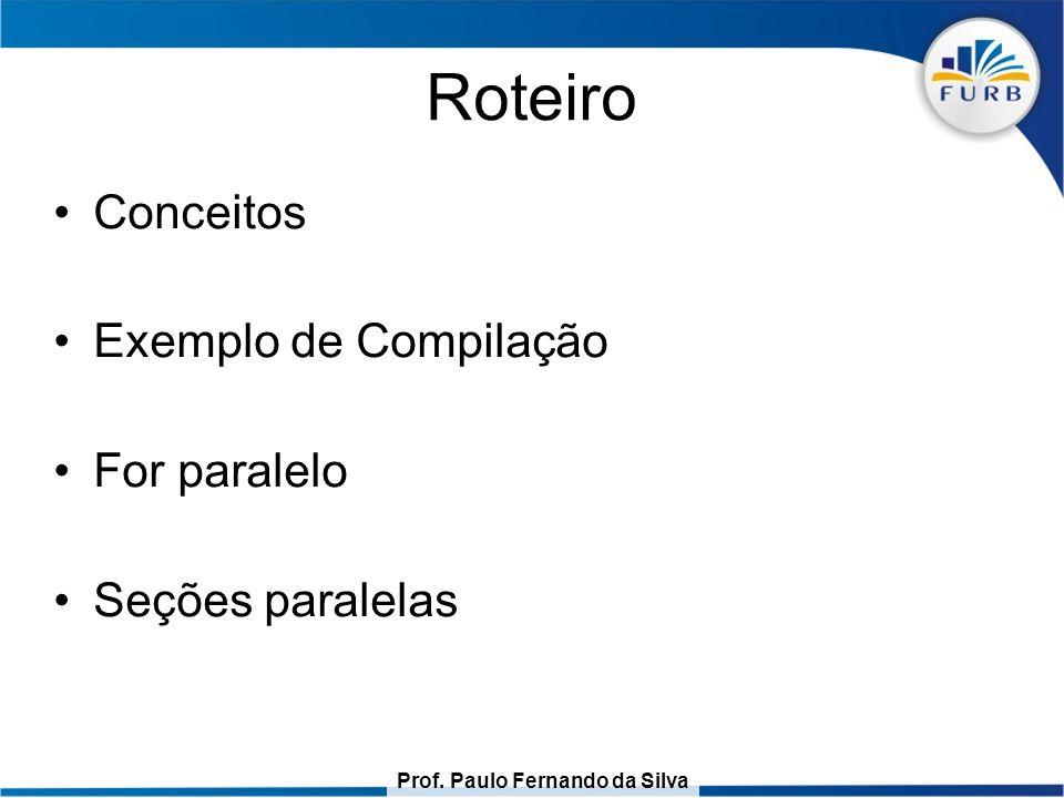 Roteiro Conceitos Exemplo de Compilação For paralelo Seções paralelas