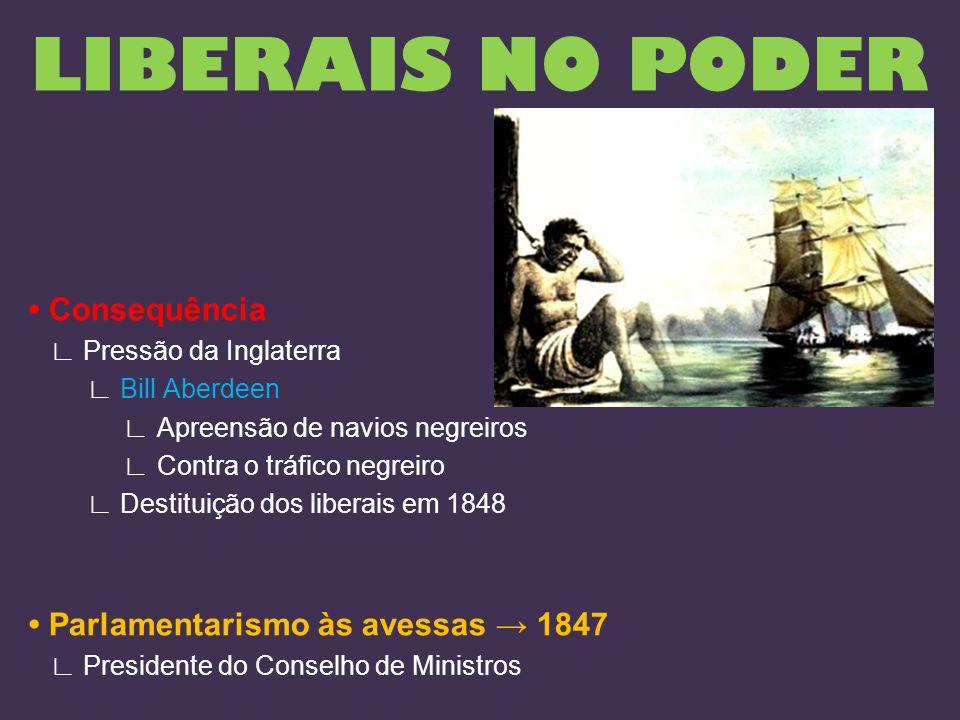 LIBERAIS NO PODER • Consequência • Parlamentarismo às avessas → 1847