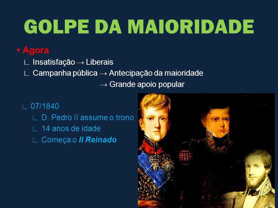 GOLPE DA MAIORIDADE • Agora ∟ Insatisfação → Liberais