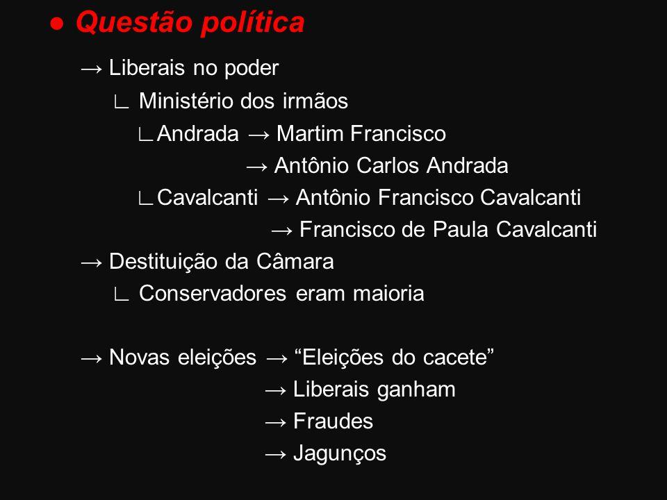● Questão política → Liberais no poder ∟ Ministério dos irmãos