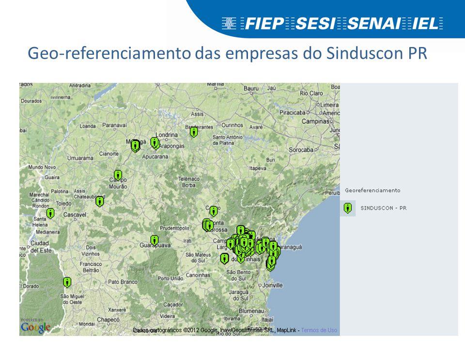 Geo-referenciamento das empresas do Sinduscon PR