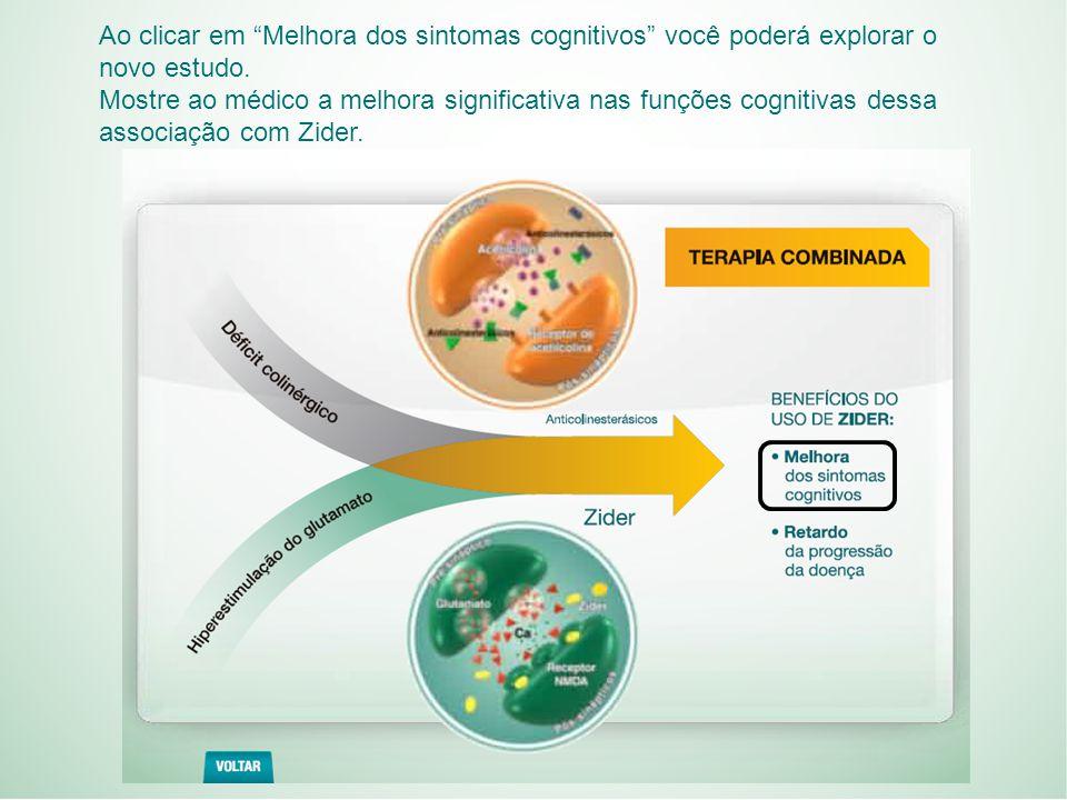 Ao clicar em Melhora dos sintomas cognitivos você poderá explorar o novo estudo.