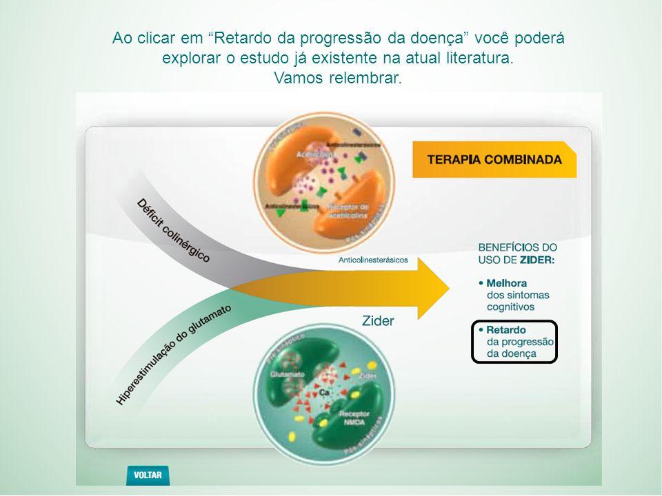 Ao clicar em Retardo da progressão da doença você poderá explorar o estudo já existente na atual literatura.