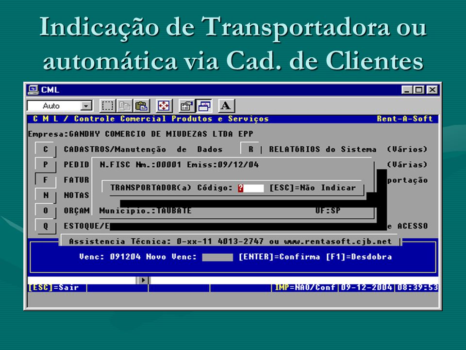 Indicação de Transportadora ou automática via Cad. de Clientes