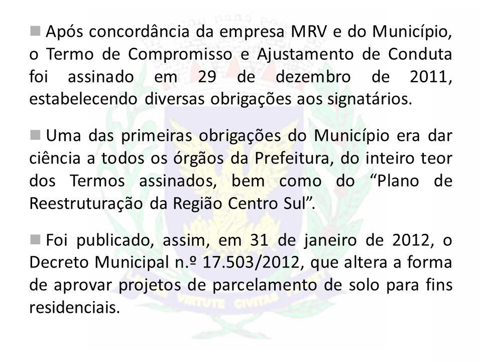 Após concordância da empresa MRV e do Município, o Termo de Compromisso e Ajustamento de Conduta foi assinado em 29 de dezembro de 2011, estabelecendo diversas obrigações aos signatários.