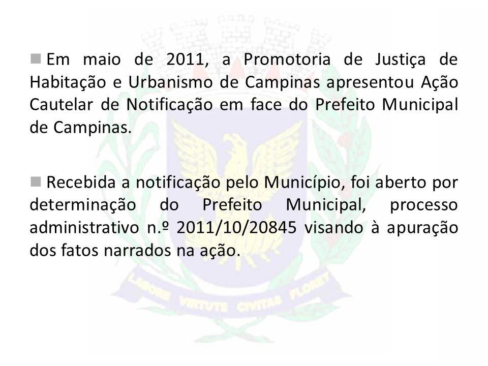 Em maio de 2011, a Promotoria de Justiça de Habitação e Urbanismo de Campinas apresentou Ação Cautelar de Notificação em face do Prefeito Municipal de Campinas.