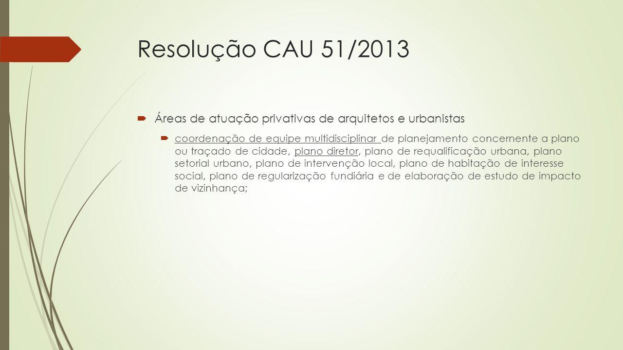Resolução CAU 51/2013 Áreas de atuação privativas de arquitetos e urbanistas.