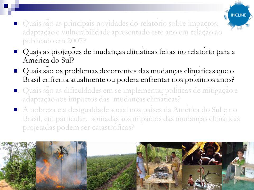 Quais são as principais novidades do relatório sobre impactos, adaptação e vulnerabilidade apresentado este ano em relação ao publicado em 2007