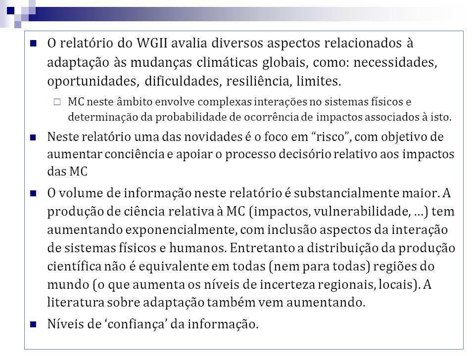 O relatório do WGII avalia diversos aspectos relacionados à adaptação às mudanças climáticas globais, como: necessidades, oportunidades, dificuldades, resiliência, limites.