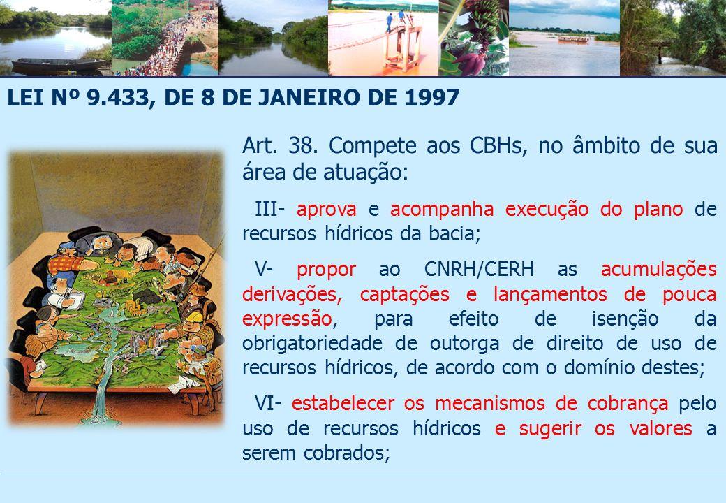 Art. 38. Compete aos CBHs, no âmbito de sua área de atuação: