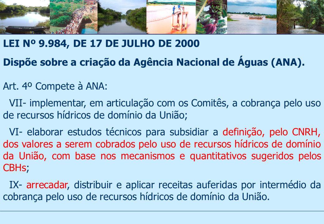 LEI Nº 9.984, DE 17 DE JULHO DE 2000 Dispõe sobre a criação da Agência Nacional de Águas (ANA). Art. 4º Compete à ANA: