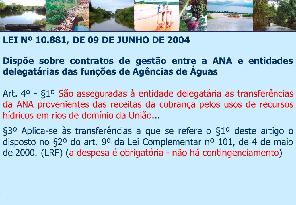 LEI Nº 10.881, DE 09 DE JUNHO DE 2004 Dispõe sobre contratos de gestão entre a ANA e entidades delegatárias das funções de Agências de Águas