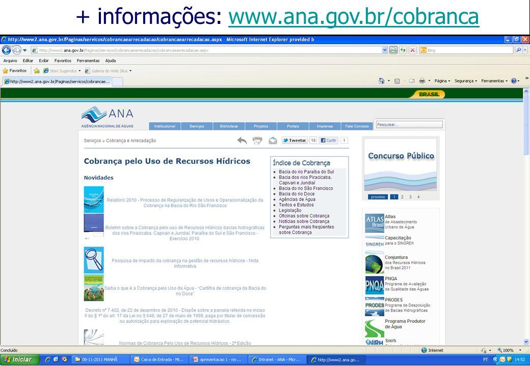 + informações: www.ana.gov.br/cobranca
