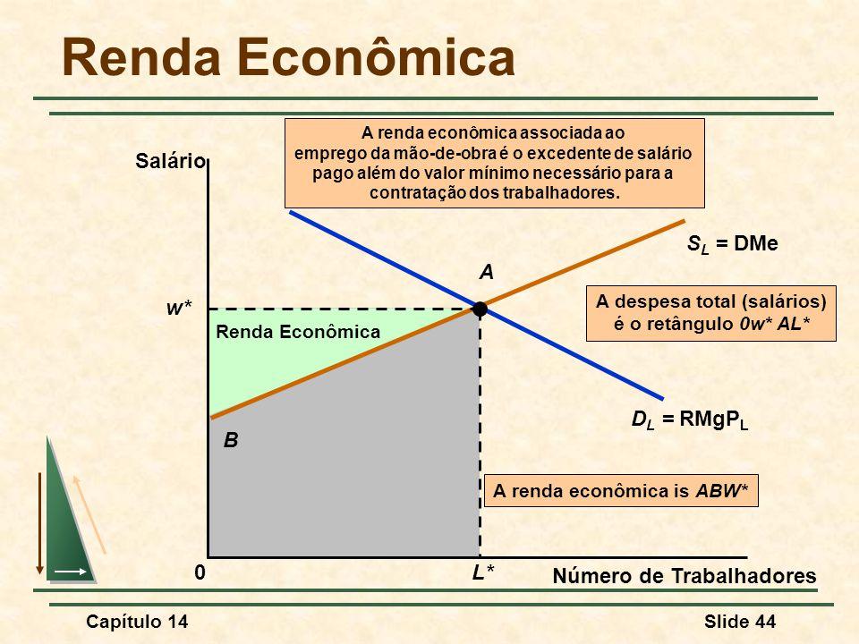 Renda Econômica Salário SL = DMe A w* DL = RMgPL B L*