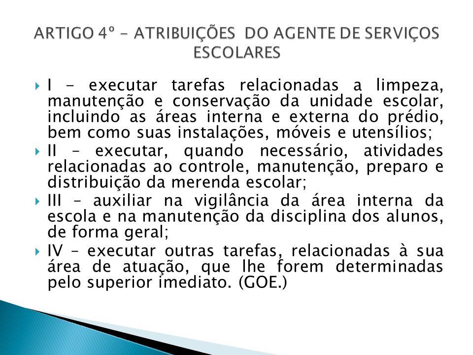 ARTIGO 4º - ATRIBUIÇÕES DO AGENTE DE SERVIÇOS ESCOLARES