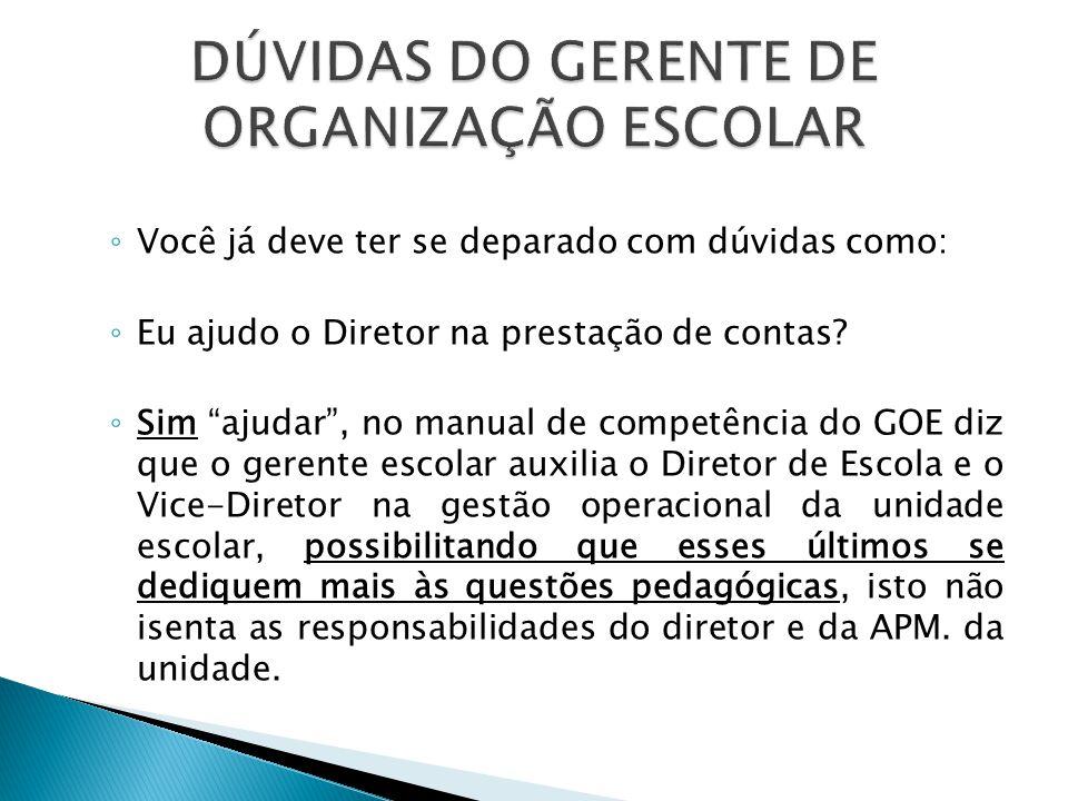 DÚVIDAS DO GERENTE DE ORGANIZAÇÃO ESCOLAR