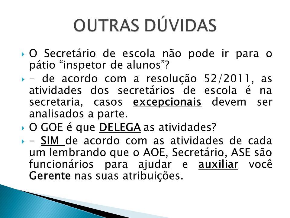 OUTRAS DÚVIDAS O Secretário de escola não pode ir para o pátio inspetor de alunos