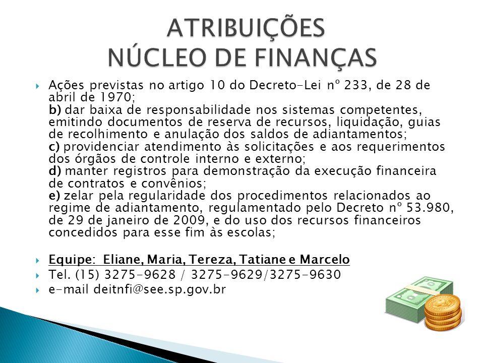 ATRIBUIÇÕES NÚCLEO DE FINANÇAS