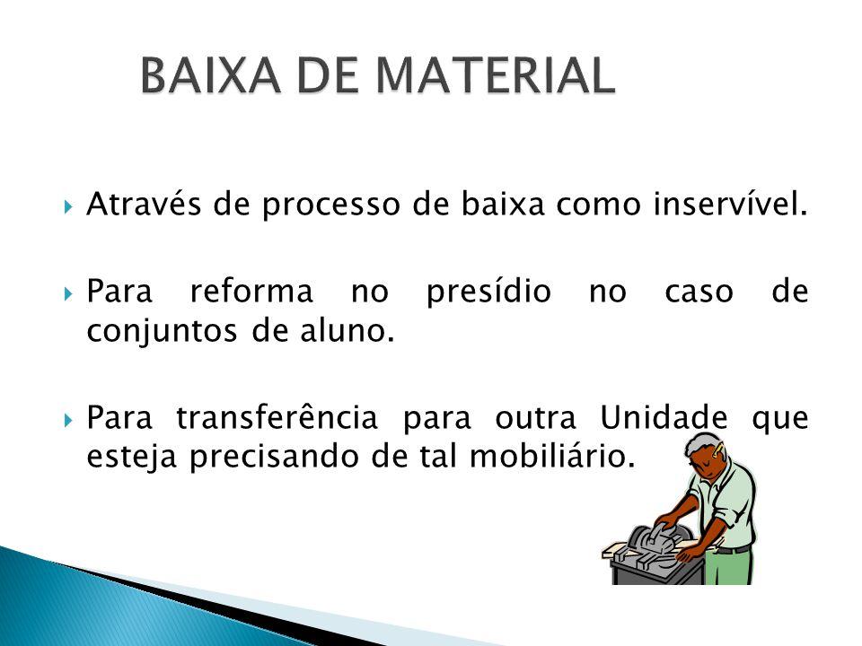 BAIXA DE MATERIAL Através de processo de baixa como inservível.