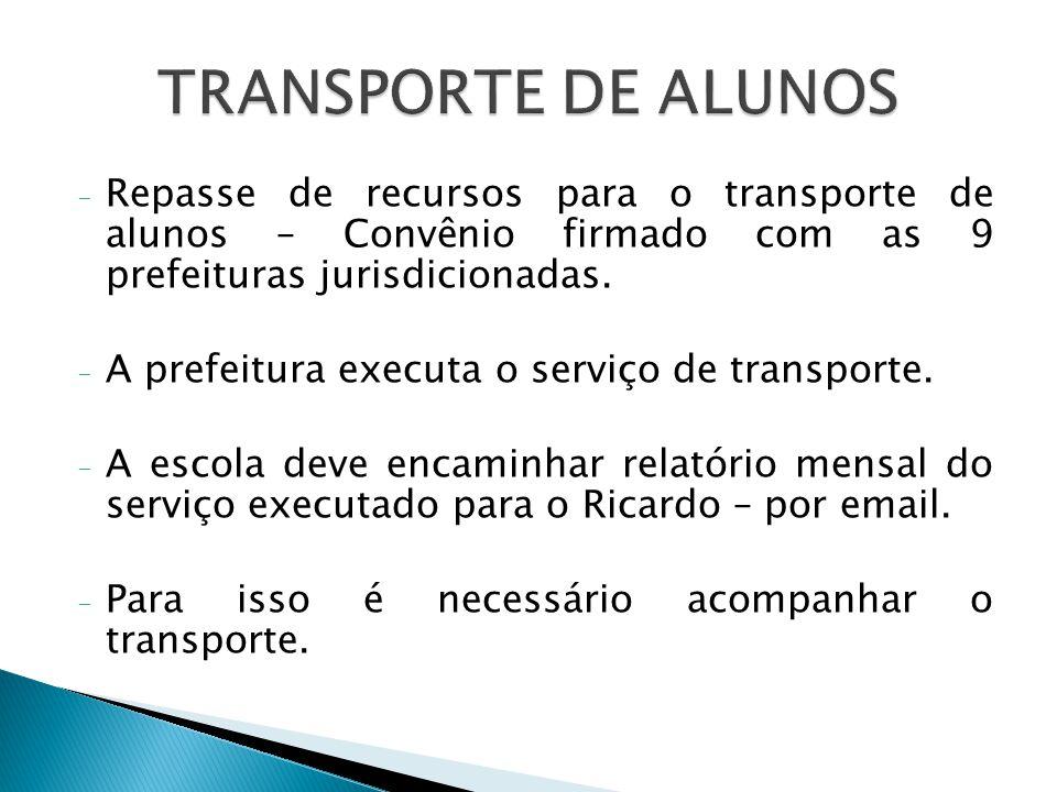 TRANSPORTE DE ALUNOS Repasse de recursos para o transporte de alunos – Convênio firmado com as 9 prefeituras jurisdicionadas.