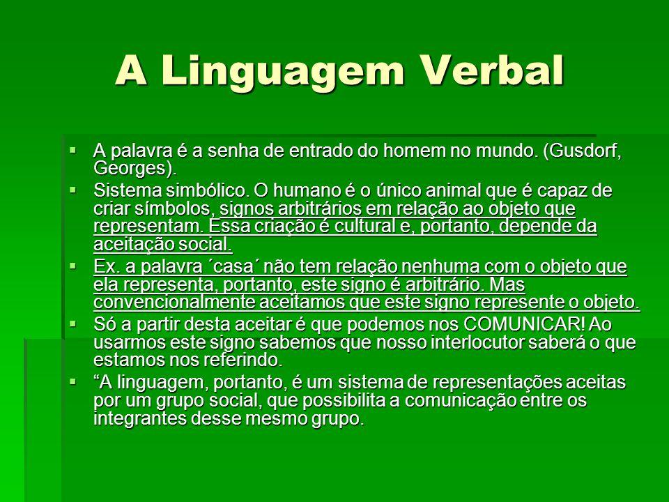 A Linguagem Verbal A palavra é a senha de entrado do homem no mundo. (Gusdorf, Georges).