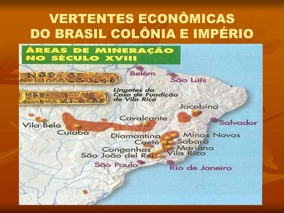 VERTENTES ECONÔMICAS DO BRASIL COLÔNIA E IMPÉRIO