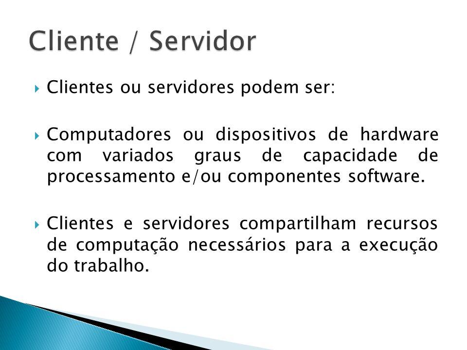 Cliente / Servidor Clientes ou servidores podem ser:
