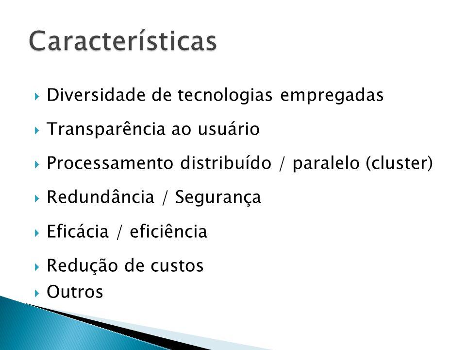 Características Diversidade de tecnologias empregadas