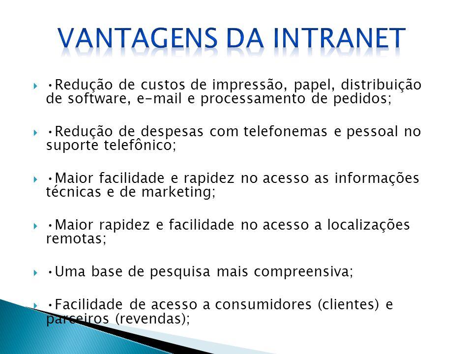 Vantagens da Intranet •Redução de custos de impressão, papel, distribuição de software, e-mail e processamento de pedidos;