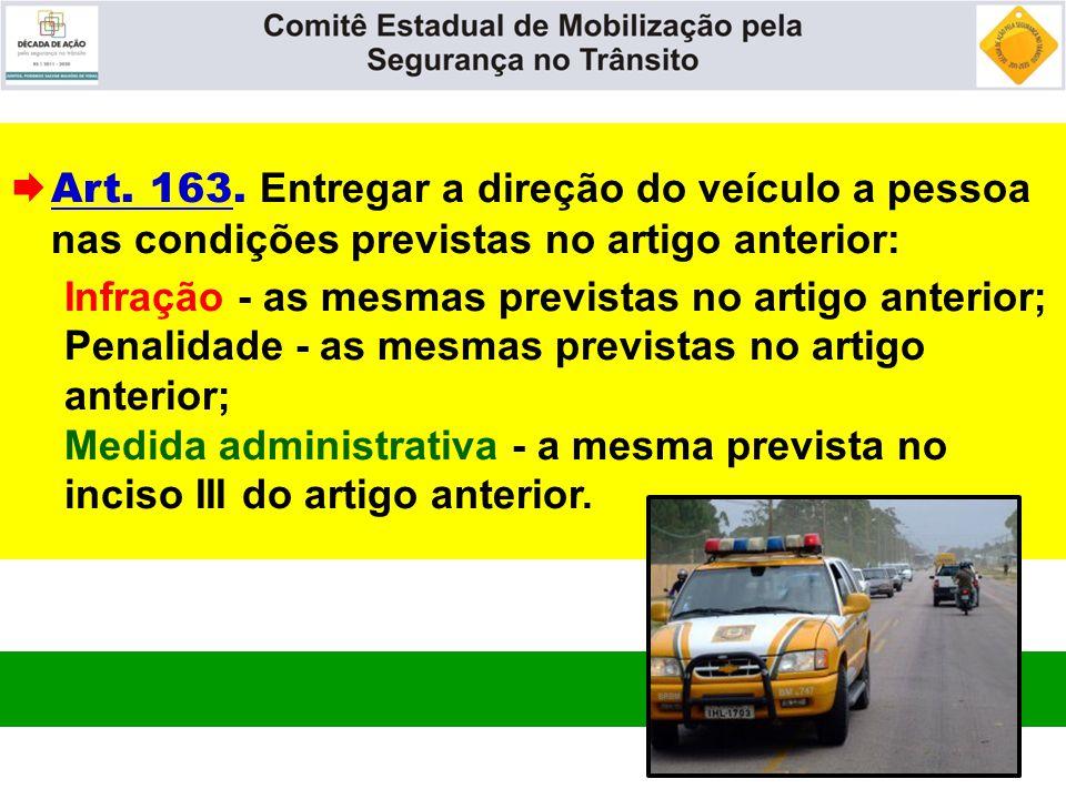 Art. 163. Entregar a direção do veículo a pessoa nas condições previstas no artigo anterior:
