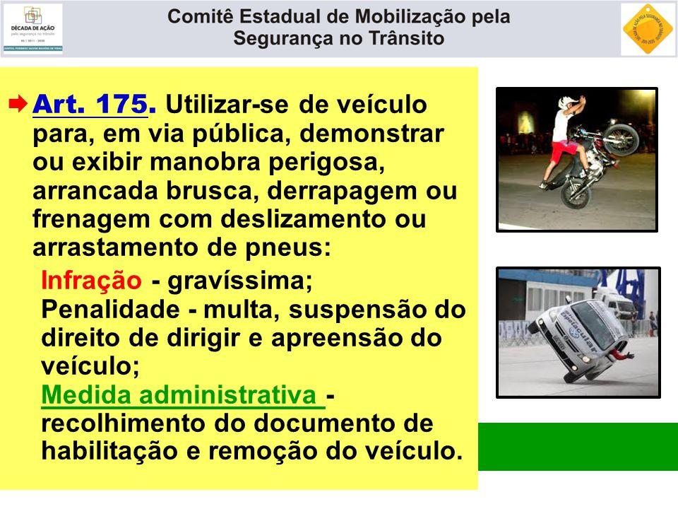 Art. 175. Utilizar-se de veículo para, em via pública, demonstrar ou exibir manobra perigosa, arrancada brusca, derrapagem ou frenagem com deslizamento ou arrastamento de pneus:
