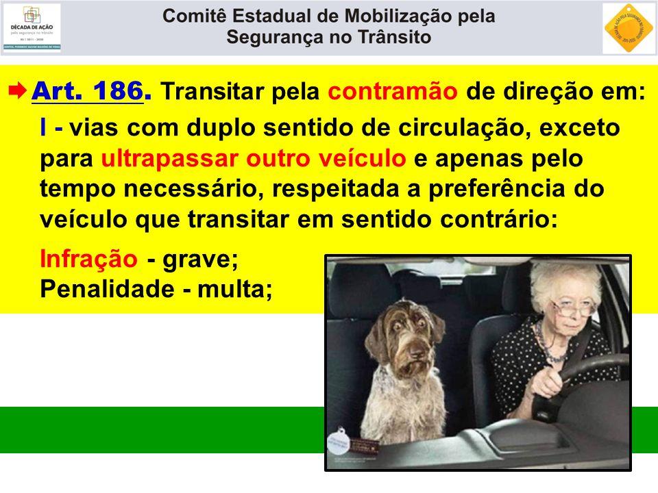 Art. 186. Transitar pela contramão de direção em: