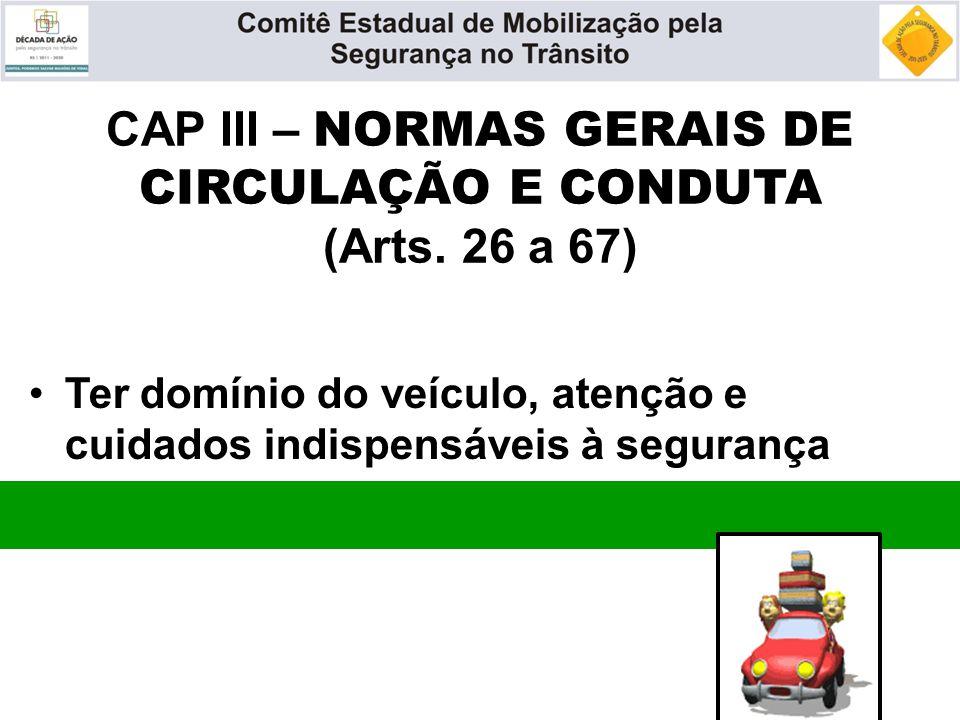 CAP III – NORMAS GERAIS DE CIRCULAÇÃO E CONDUTA (Arts. 26 a 67)