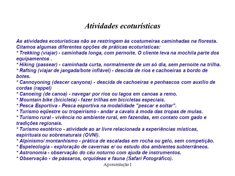 Atividades ecoturísticas