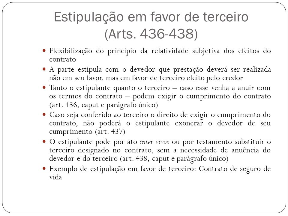 Estipulação em favor de terceiro (Arts. 436-438)
