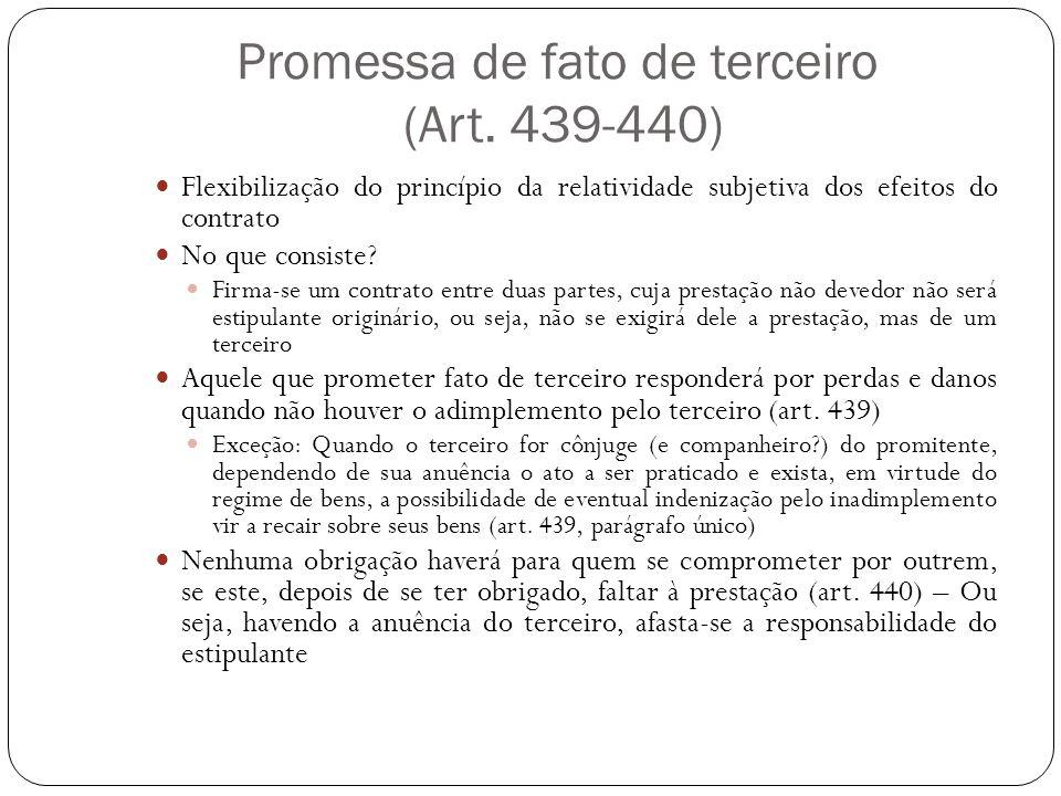 Promessa de fato de terceiro (Art. 439-440)