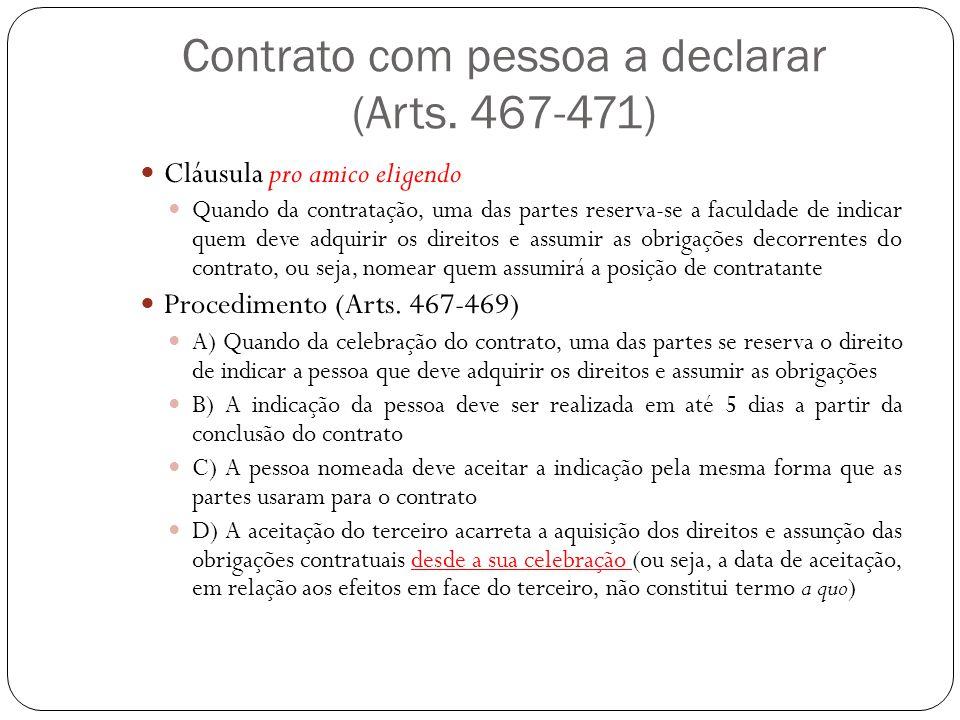 Contrato com pessoa a declarar (Arts. 467-471)