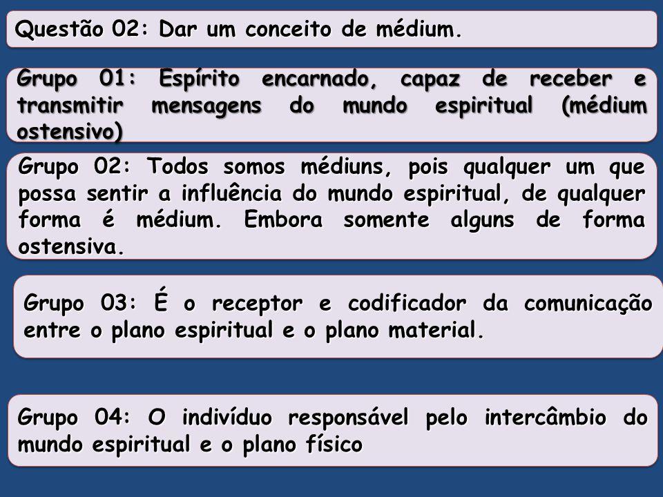 Questão 02: Dar um conceito de médium.