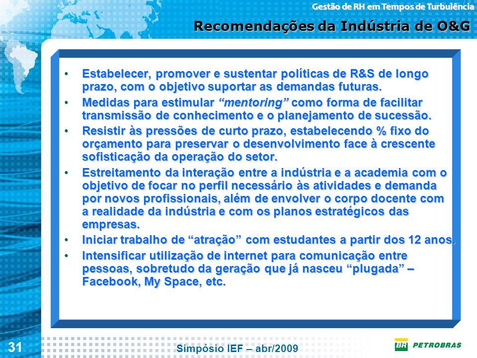 Recomendações da Indústria de O&G