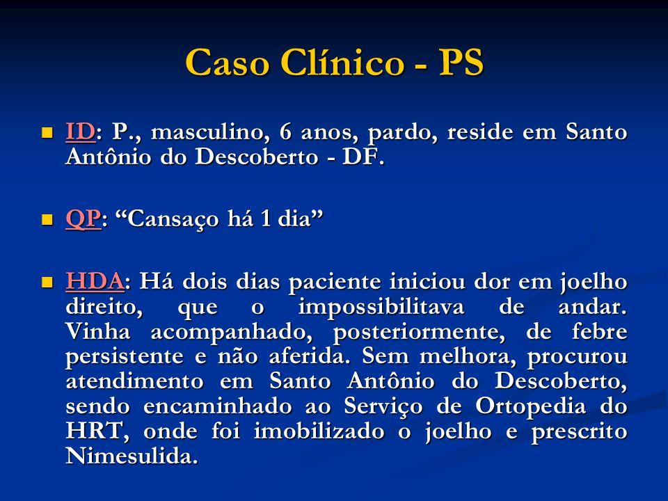 Caso Clínico - PS ID: P., masculino, 6 anos, pardo, reside em Santo Antônio do Descoberto - DF. QP: Cansaço há 1 dia
