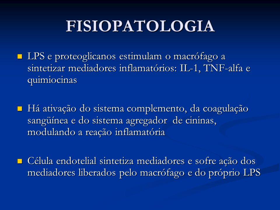 FISIOPATOLOGIA LPS e proteoglicanos estimulam o macrófago a sintetizar mediadores inflamatórios: IL-1, TNF-alfa e quimiocinas.