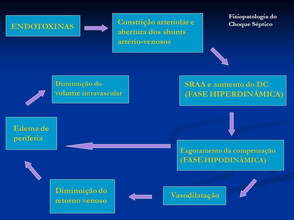 Constrição arteriolar e abertura dos shunts artério-venosos