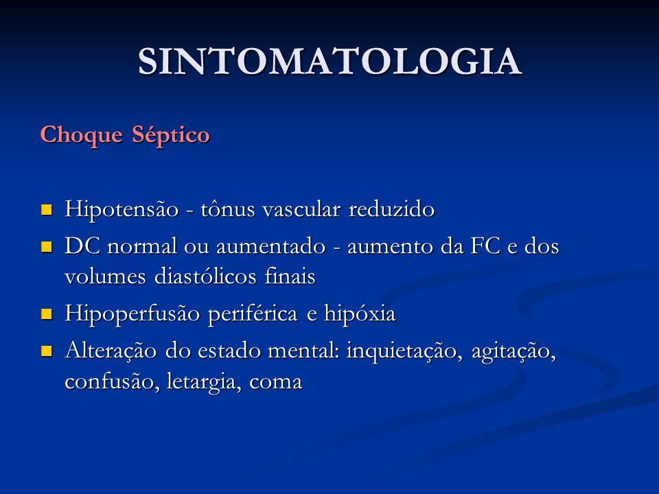 SINTOMATOLOGIA Choque Séptico Hipotensão - tônus vascular reduzido