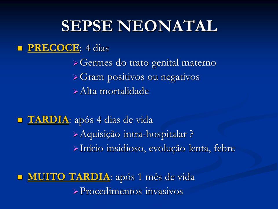 SEPSE NEONATAL PRECOCE: 4 dias Germes do trato genital materno