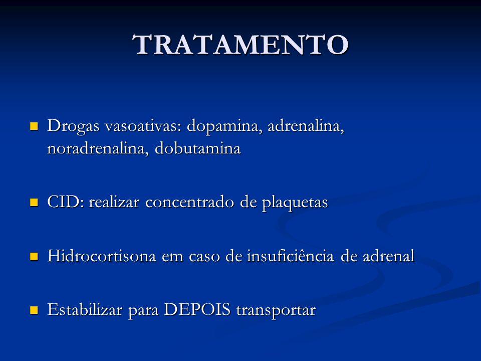 TRATAMENTO Drogas vasoativas: dopamina, adrenalina, noradrenalina, dobutamina. CID: realizar concentrado de plaquetas.